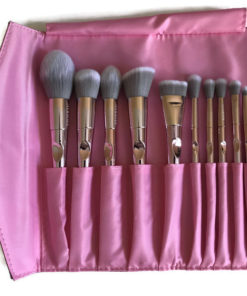 2ea129542f26 Professional Pink Chromance Makeup Brush Set with Holographic Pink Brush  Bag Clutch